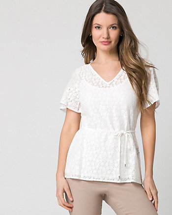 Lace & Knit V-Neck Top