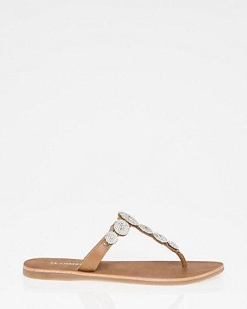 Jewel Embellished Leather T-Strap Sandal