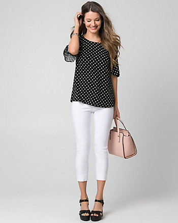 Dot Print Viscose & Jersey V-Back Top
