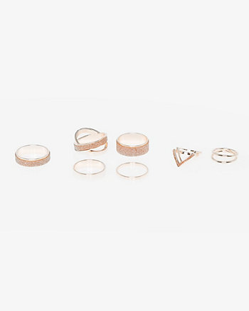 Set of Glitter & Metal Rings