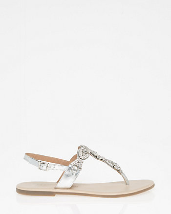 Jewel Embellished Leather T-Strap Sandal