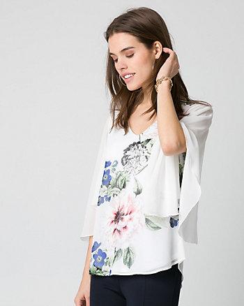 Floral Print Chiffon Drama Sleeve Blouse