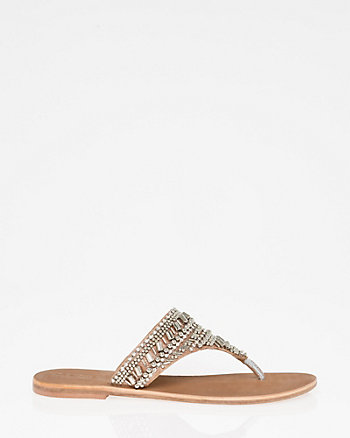 Beaded Leather Thong Sandal