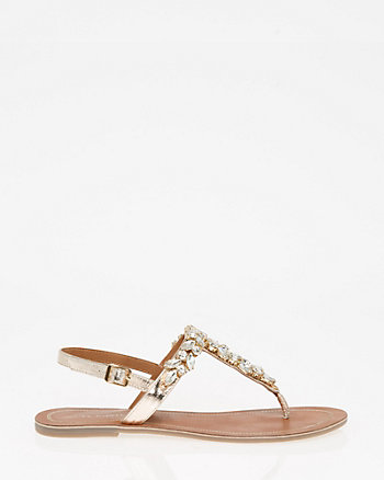 Jewel Embellished Metallic Leather Sandal