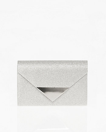 Glitter Mesh Envelope Clutch