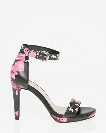 Floral Leather-Like Ankle Strap Sandal