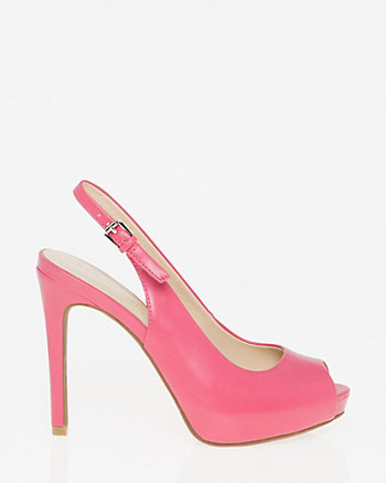 Leather-Like Peep Toe Slingback Sandal
