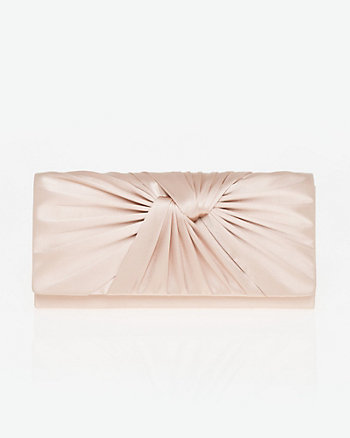 Pleated Satin Flapover Clutch