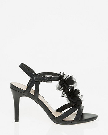 Faux Leather Floral T-Strap Sandal