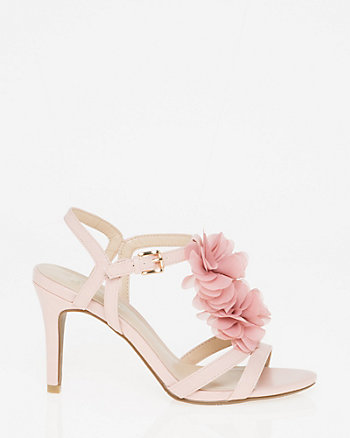 Leather-Like Floral T-Strap Sandal
