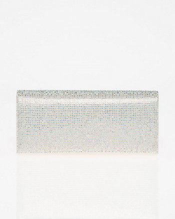 Jewel Embellished Metallic Foil Clutch