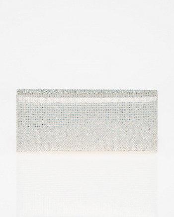 Jewel Embellished Metallic Foil Clutch