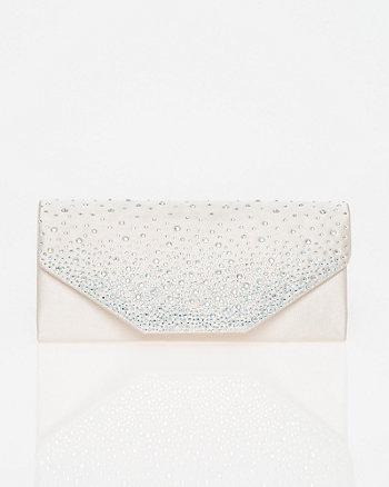 Jewel Embellished Satin Flapover Clutch