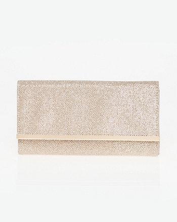Glitter Mesh Flapover Clutch