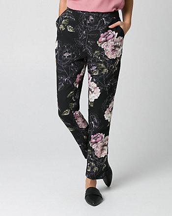 Floral Print Crêpe Slim Leg Pant