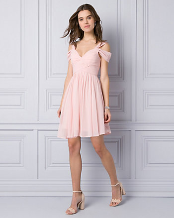 Crêpe de Chine Cold Shoulder Party Dress