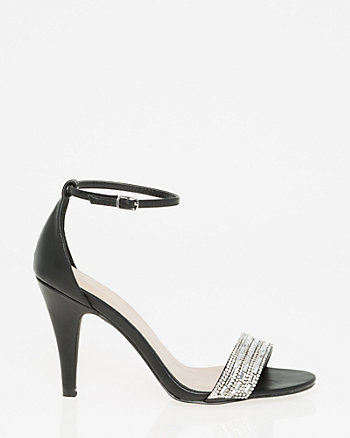 Embellished Faux Leather Ankle Strap Sandal