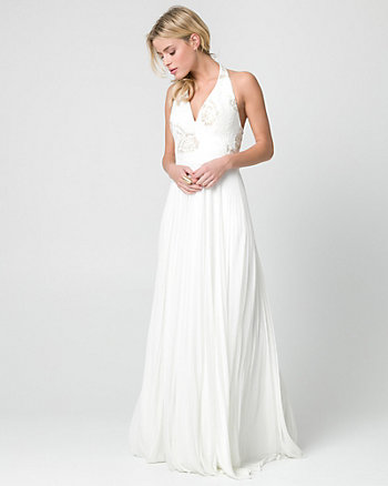 Embroidered Sequin & Mesh V-Neck Gown