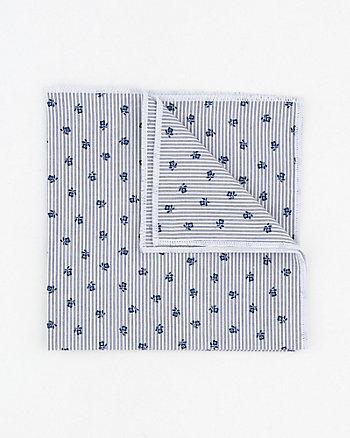 Stripe & Floral Print Cotton Pocket Square