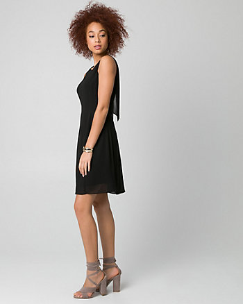 Chiffon Crew Neck Dress
