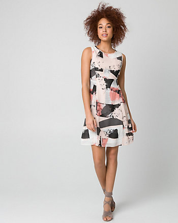 Abstract Print Chiffon Crew Neck Dress