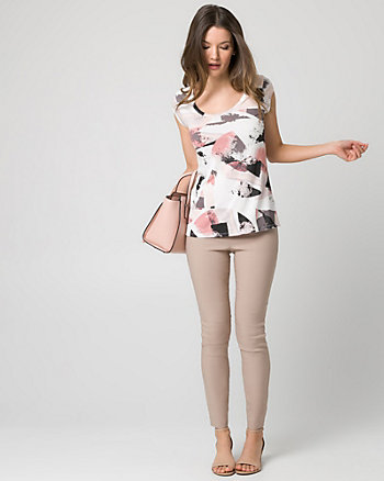 Abstract Print Jersey Scoop Neck Top