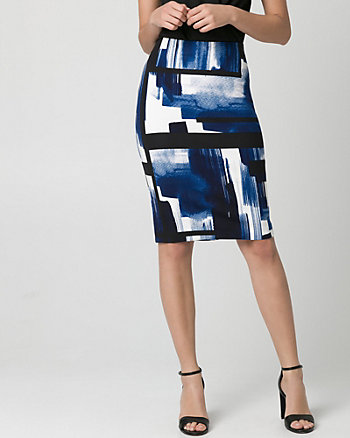 Geo Print Ponte Pencil Skirt