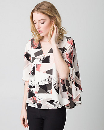 Abstract Print Crêpe de Chine Cape Blouse
