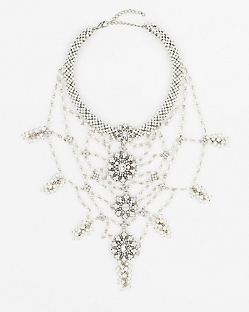 Pearl-Like Bib Necklace