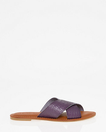 Croco Criss-Cross Slide Sandal