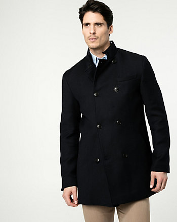 Wool Blend Mock Neck Car Coat