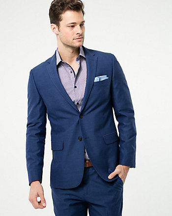 Tonal Linen Blend Contemporary Fit Blazer
