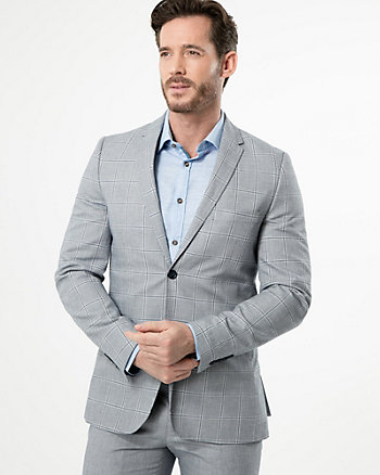 Grid Check Print Cotton Slim Fit Blazer