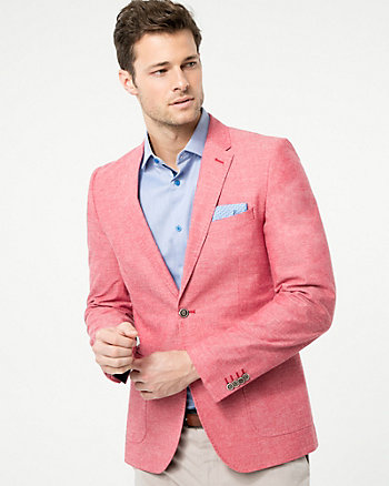Tonal Cotton Slim Fit Blazer