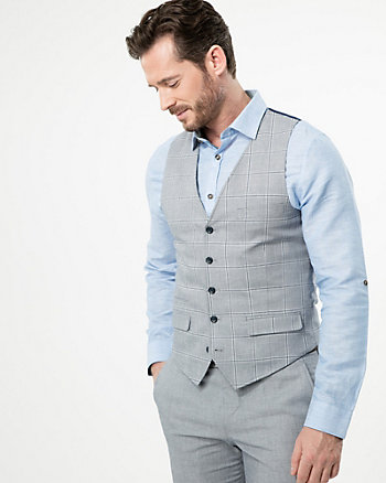 Grid Check Print Cotton Twill City Fit Vest
