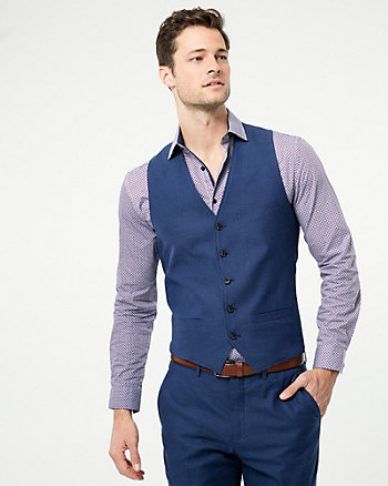 Tonal Linen Blend Contemporary Fit Vest