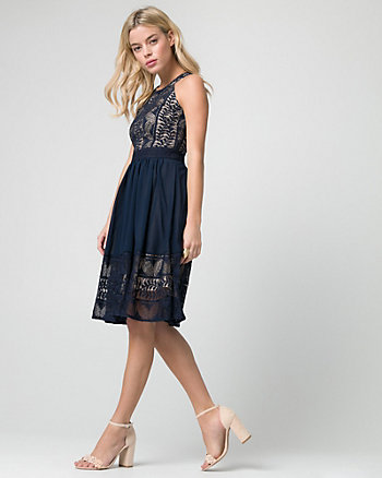 Embellished Lace & Chiffon Halter Dress