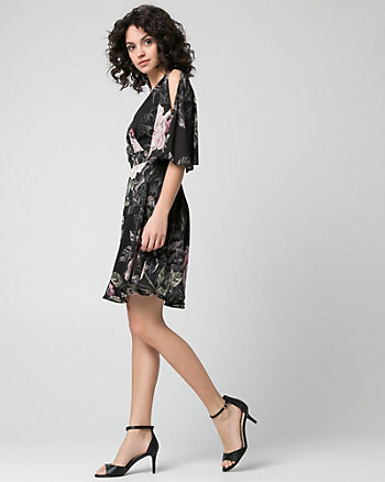 Floral Print Chiffon V-Neck Dress