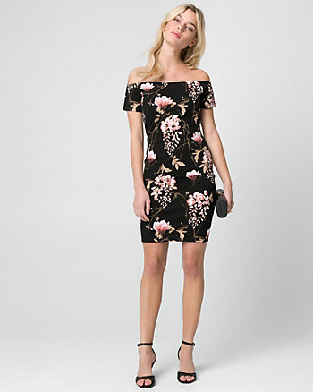 Floral Print Ponte Off-the-Shoulder Dress