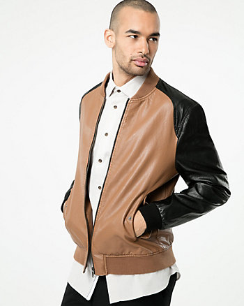 Colour Block Leather-Like Bomber Jacket