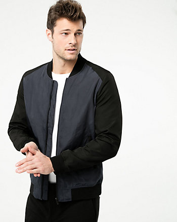 Colour Block Woven Bomber Jacket
