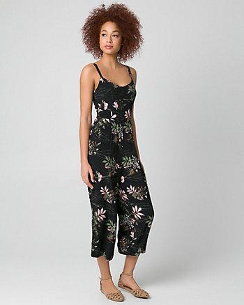 Floral Print Viscose Crêpe Culotte Jumpsuit