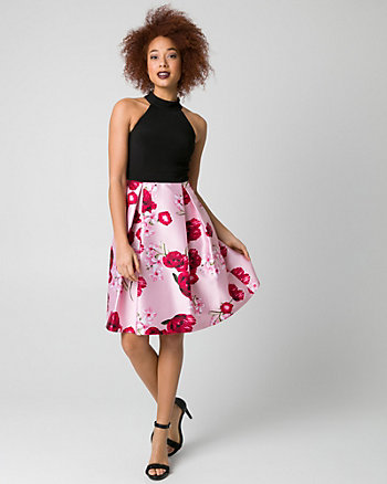 Floral Print Bengaline & Satin Halter Dress