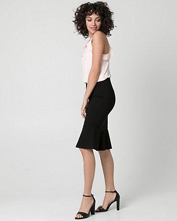 Ponte Knit Flounce Skirt