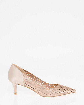Jewel Embellished Laser Cut Satin Pump