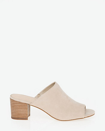 Suede-Like Peep Toe Mule