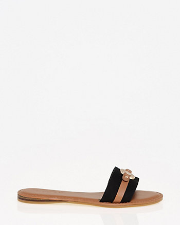 Canvas & Faux Leather Slide Sandal