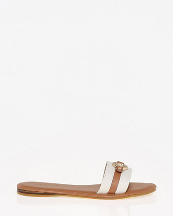 Canvas & Leather-Like Slide Sandal