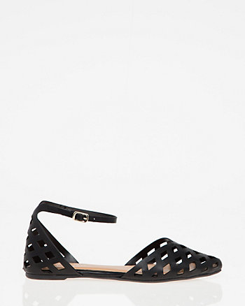 Laser Cut Faux Leather d'Orsay Flat