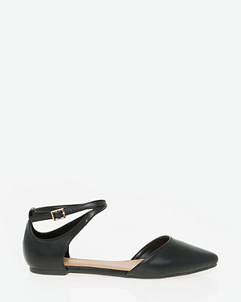 Leather-Like Pointy Toe Sandal